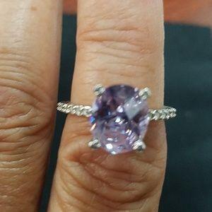 Purple oval CZ ring